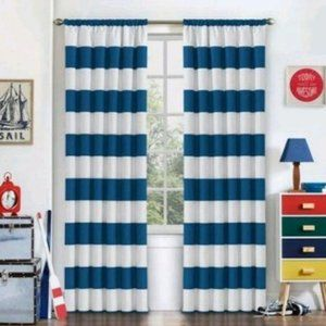 NWT Eclipse Striped Curtains Blue & White 2 Panels